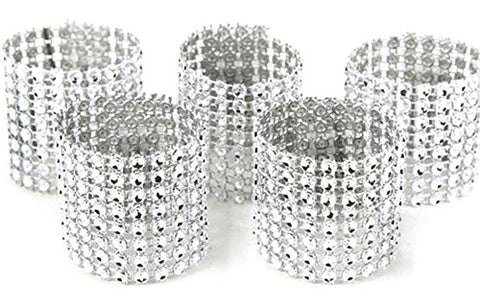 Zeroyoyo Rhinestone Napkin Ring Wedding Decoration Bling Hotel Party Adornment 10Pcs(Silver