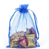 Kupoo Lot Of 50 7 X 9Drawstring Organza Pouch Strong Wedding Favor Gift Candy Bag (Dark Blue)