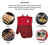 Silicone Oven Mitts Plaid Heat Resistant Cooking Gloves Non-Slip Grip Pot Holders For Kitchen Oven, Bbq Grill And Fire Pits Ideal For Cooking, Baking 7X13 Inch 1 Pair (Red) By La Sweet Home