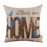 Linkwell 18X18 Inches Wood Look Bless Our Home Bird Burlap Throw Cushion Cover Cc1173
