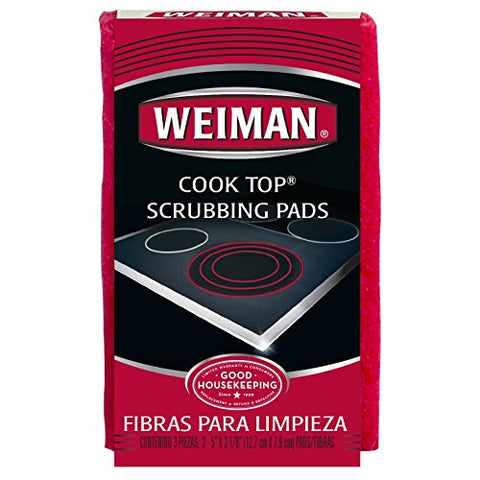 Weiman Cook Top Scrubbing Pads  Gently Clean And Remove Burned-On Food From All Smooth Top And Glass Cooktop Ranges, 3 Reusable Pads