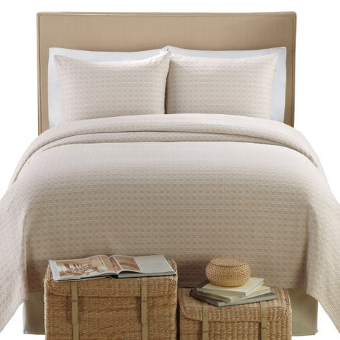 Lamont Home Lanai Matelasse 100-Percent Cotton 3-Piece Coverlet/Sham Set, King Size, Taupe