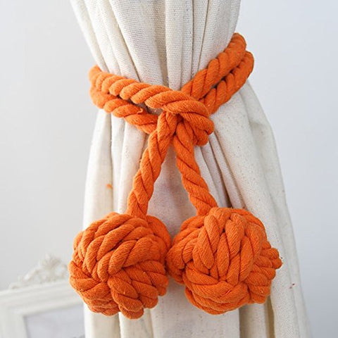 Loghot Fine Hand Tied Curtain Clip Drapery Tassels Curtain Tiebacks/Tassel Window Cotton Rope Tie Ball Back Accessories 47.2 Inches (Orange)