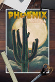 Phoenix, Arizona - Cactus And Full Moon (12X18 Art Print, Wall Decor Travel Poster)
