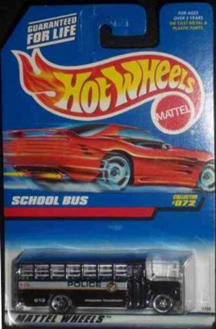 #072 School Bus Black Bars On Windows 5-Hole Hot Wheels 1:64 Scale Collectible Die Cast Car Model