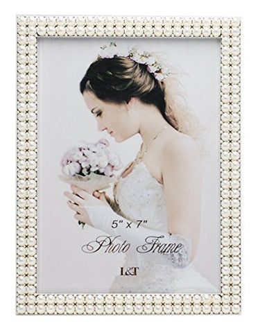 L&T Metal Picture Frame Silver Plated With Pearls 5X7 Inch, Special Occasion Anniversary Wedding Gift Photo Frame