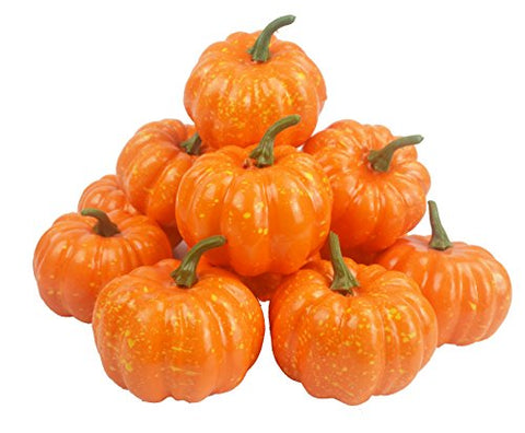 Lanyani Artificial Fall Harvest Pumpkins 3.3 Inches Small Fake Pumpkins For Halloween, Fall Autumn And Thanksgiving Dcor (Deep Yellow)