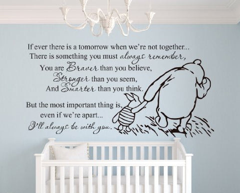 Winnie The Pooh Braver, Stronger Smarter Quote (Large) Wall Decal Sticker Art Decor Lettering Bedroom Nursery Playroom