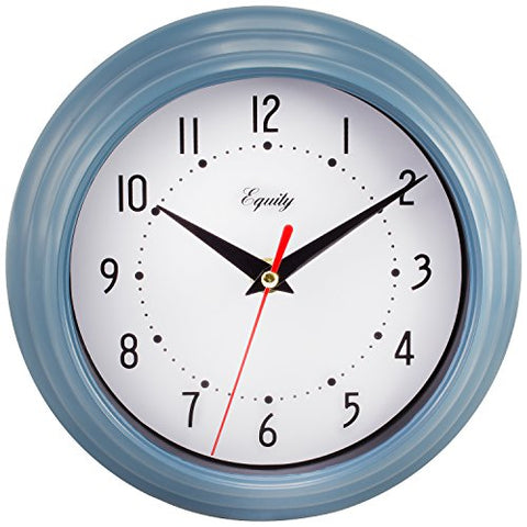 Equity By La Crosse 25014 Round Plastic Analog Wall Clock, 8, Slate Blue