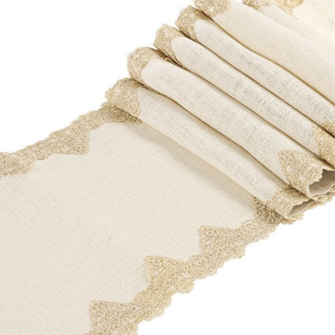 Ling'S Moment 12X108 Inch White Burlap Hessian Table Runner With Gold Victorian Lace, Country Rustic Wedding Decorations, Farmhouse Decor, Bridal Shower Decor