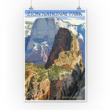 Zion National Park - Angels Landing (12X18 Art Print, Wall Decor Travel Poster)