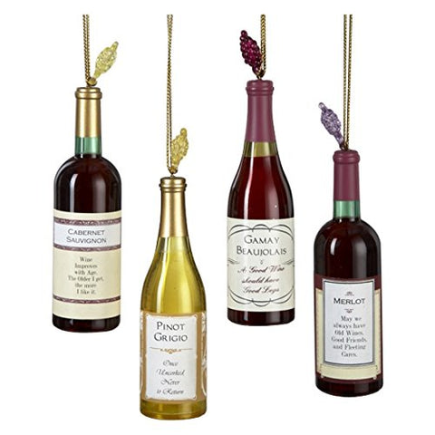 Acrylic Wine Bottle Ornament Set Of 4