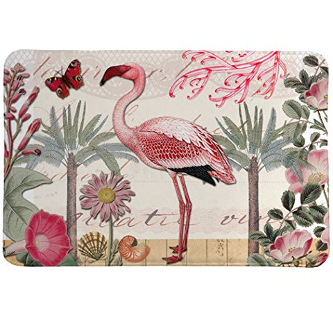 Laural Home Botanical Flamingo Memory Foam Rug