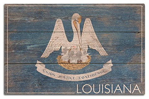 Rustic Louisiana State Flag (10X15 Wood Wall Sign, Wall Decor Ready To Hang)
