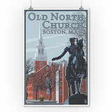 Old North Church - Boston, Ma (9X12 Collectible Art Print, Wall Decor Travel Poster)