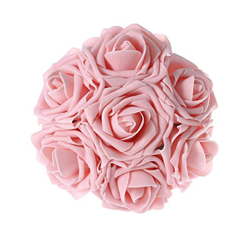Ling'S Moment Artificial Flowers 50Pcs Pink Real Looking Artificial Roses For Wedding Bouquets Centerpieces Party Baby Shower Decorations Diy