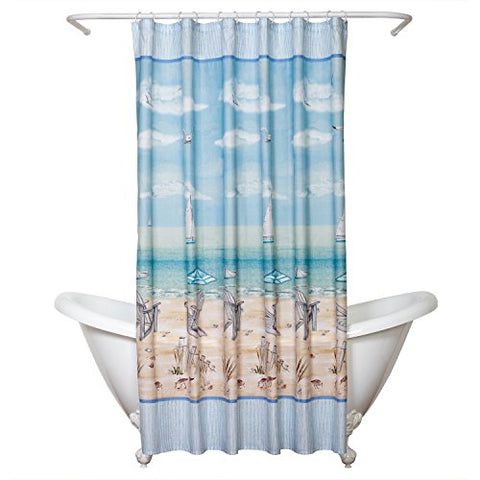 Zenna Home, India Ink Seaside Serenity Shower Curtain, Coastal/Beach