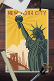 New York City, New York - Statue Of Liberty And Bridge (12X18 Art Print, Wall Decor Travel Poster)
