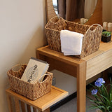 Kingwillow Hand Woven Natural Water Hyacinth Rectangular Storage Baskets With Handle(Set Of 3, Typed)