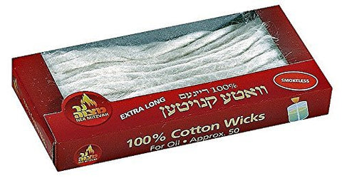 100% Cotton Wicks - Extra Long - Smokeless,  50 Wicks