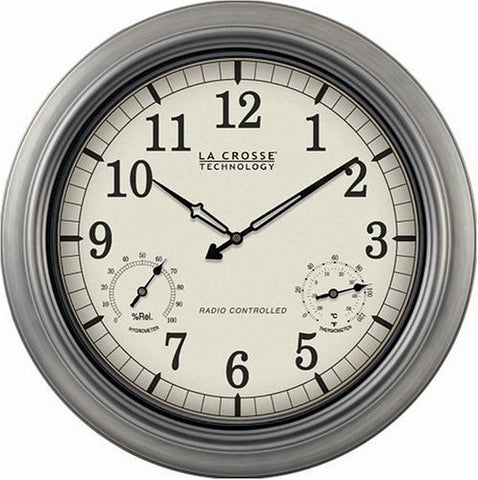 La Crosse Technology Wt-3181P  18 Outdoor Atomic Wall Clock With Temperature/Humidity