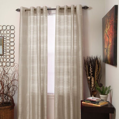 Lavish Home Maggie Grommet Single Curtain Panel, 84-Inch, Beige