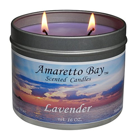 Amaretto Bay Soy Wax Scented Candles 16Oz Aromatherapy Travel Tin (Lavender)