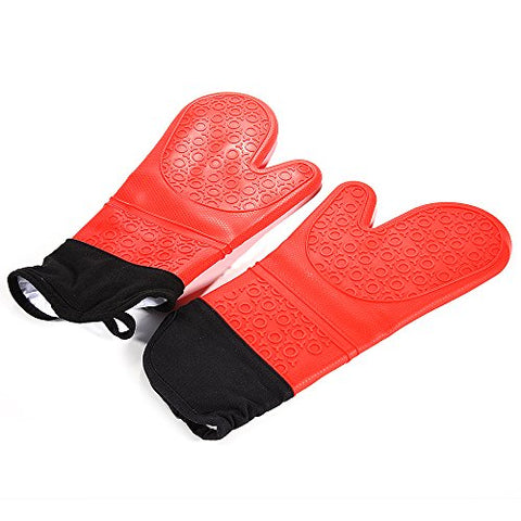 Lingstar Silicone Oven Gloves Mitts - Extra Long Cotton Lining Heat Resistant - Bbq Gloves - 1 Pair (Red)