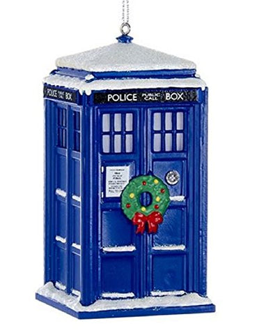Doctor Who Tardis With Wreath And Light Effect Ornament, 4.25 Inch Hanging Ornament