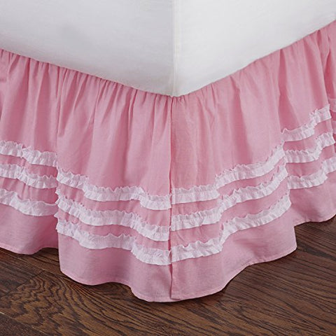 Pink Ruched Twin Bed Skirt
