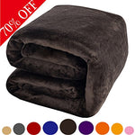 Shilucheng Fleece Soft Warm Fuzzy Plush Lightweight Queen(90-Inch-By-90-Inch) Couch Bed Blanket, Coffee