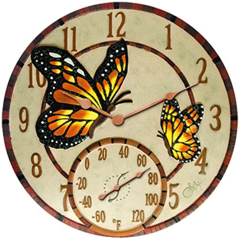 Springfield 14 Mosaic Butterflies Poly Resin Clock With Thermometer