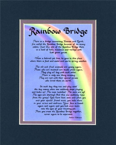 Rainbow Bridge Dog Memorial Wall Decor Poem Pet Saying Bereavement Keepsake Gift