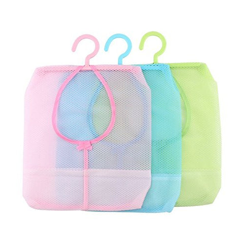 Yosoo 3Pcs Colorful Hanging Mesh Bag, Bathroom Shower Storage Organizer Set Hamper Bag Closet Rack Clothes Clip Collection Bag Laundry Basket