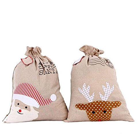 Santa Sack Christmas Gift Bag (Set Of 2 (1 Santa & 1 Reindeer))