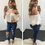 Laimeng Blouse,Women Chiffon Off Shoulder Chocker Neck Long Sleeve Loose T Shirt Tops Blouse