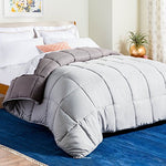 Linenspa All-Season Reversible Down Alternative Quilted Comforter - Corner Duvet Tabs - Hypoallergenic - Plush Microfiber Fill - Box Stitched - Machine Washable - Stone / Charcoal - California King