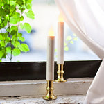 4 White Plastic Led Taper Candles With Removable Gold Candleholders, Batteries Included