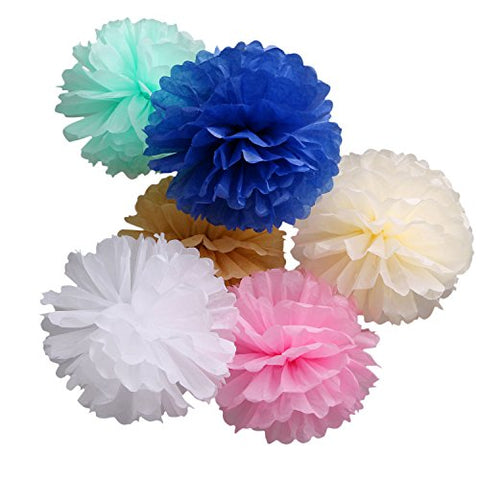 Landisun Exclusive Tissue Paper Flower Poms For Wedding Birthday Room Decoration (10 Inches , Six Mixed Colors)