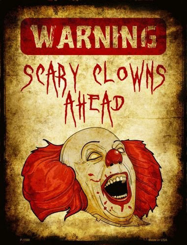 Scary Clowns Metal Novelty Parking Sign P-1168