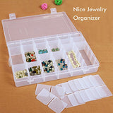 Lasten Plastic Storage Box, Clean Jewelry Box, Small Box Container, Adjustable Compartment Box With Lid, 10.8 X7.3 X1.8 Hard Plastic 36 Grids Box Organizer, Storage Case With Removable Divider