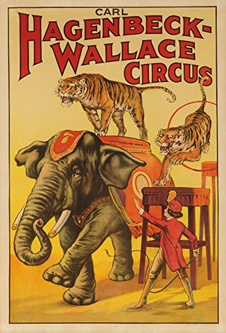 Hagenbeck - Wallace Circus (Elephant And Tigers) Vintage Poster Usa C. 1933 (9X12 Collectible Art Print, Wall Decor Travel Poster)