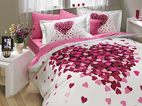 Bedding Set Heart Love Themed With Duvet Cover Romantic Design, Cotton Queen Size - 4 Pieces, Pink Lilac White