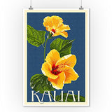 Kauai, Hawaii - Yellow Hibiscus - Letterpress (9X12 Art Print, Wall Decor Travel Poster)