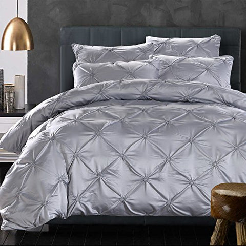 La Mejor 100% Silk Cotton, Queen Size Luxurious Pinch Pleat Decorative Pintuck Bedding Set Grey