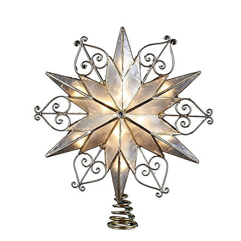 Kurt Adler 10-Light 6-Point Capiz Star Treetop With Scroll Design