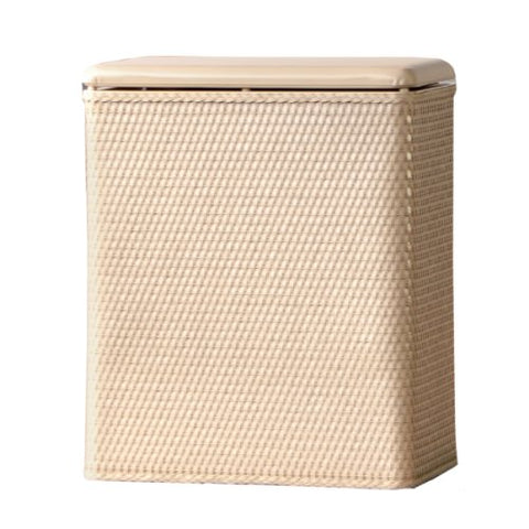 Lamont Home Carter Upright Wicker Laundry Hamper With Coordinating Padded Vinyl Lid, Linen