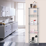 Langria 5-Tier Wire Shelving Unit With Baskets, Free-Standing Storage Organization Utility Rack For Home Kitchen Living Room Bedroom Bathroom Laundry Office, 165 Lbs Capacity, Silver