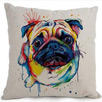 Cotton Linen Cartoon Lovely Animal Abstract Oil Painting Adorable Pet Dogs Pug Throw Pillow Covers Cushion Cover Decorative Sofa Bedroom Living Room Square 18 Inches