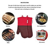 Silicone Oven Mitts Cooking Gloves 480 F Heat Resistant Clip Pattern Non-Slip Grip Pot Holders For Kitchen Oven, Bbq Grill And Fire Pits - Ideal For Cooking, Baking 1 Pair (Red) By La Sweet Home